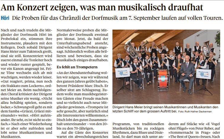 Zeitungsbericht Vorschau Konzert